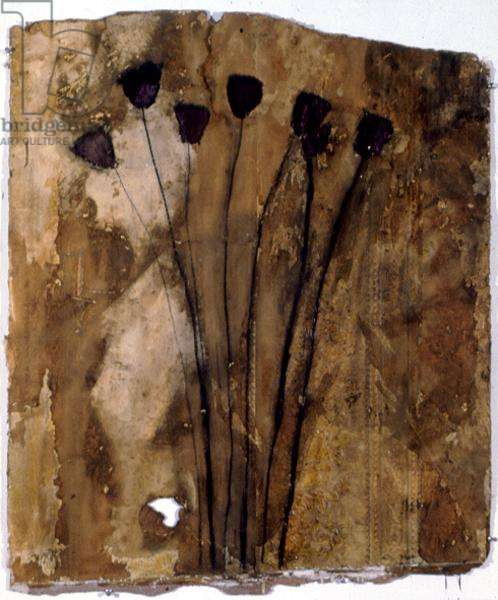 Five Flowers, 1983 (pastel and stained glass varnish)