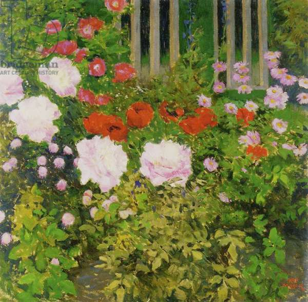 A rose hedge (oil on canvas)