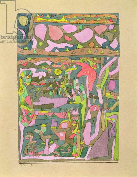 The sun discovering that the world of colours already exists, complicated composition, 1916 (no 19) (w/c & pen on paper on cardboard)