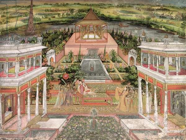 A Mughal Princess in her Garden (gouache on paper)