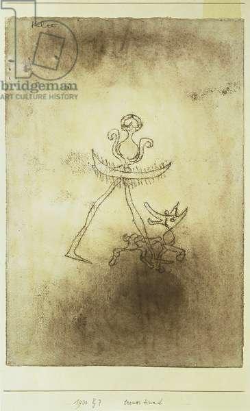 Faithful Dog, 1930 (no 147) (oil transfer & w/c on paper on cardboard)