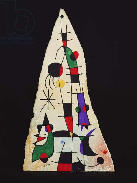 The Rainbow of the Beautiful Bird's Feathers Reaches the Horizon, 1952 (oil on fragment fibro-cement)