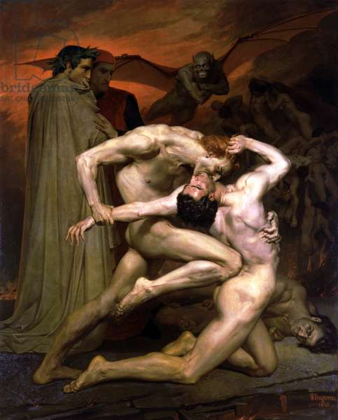Dante and Virgil in Hell, 1850 (oil on canvas)