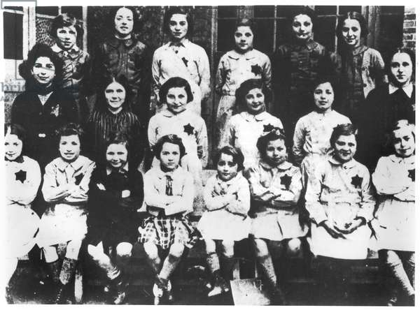 Young girls of the Saint-Mande Home sent to Auschwitz by the convoy 77 of 31st July 1944 (b/w photo)