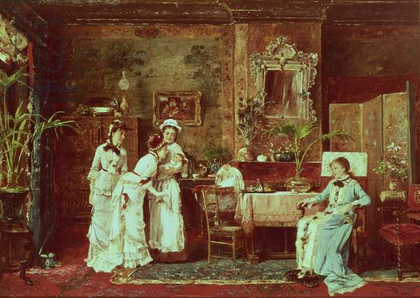Visit to a New Mother, 1879 (oil on canvas)