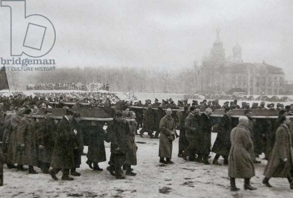 Dead victims of the uprising carried by students and workers, St. Petersburg, 1917 (b/w photo)