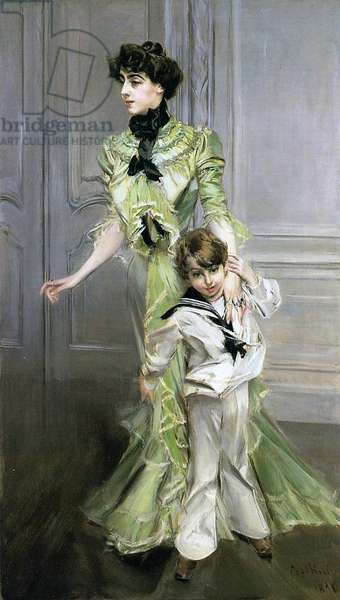 Madame Georges Hugo and her son Jean, 1898 (oil on canvas)