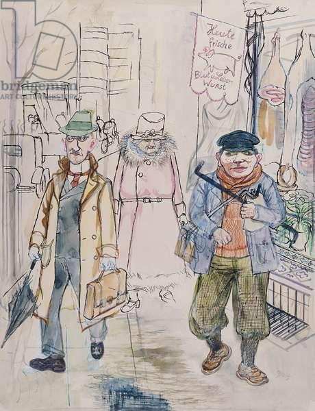 Street Scene, 1929 (w/c & ink on paper)