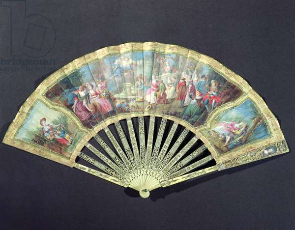 Court Fan, French, 18th century  (ivory and w/c on paper)