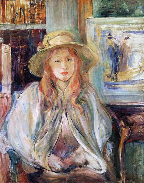 Julie Manet with a straw hat, 1892 (oil on canvas) canvas)