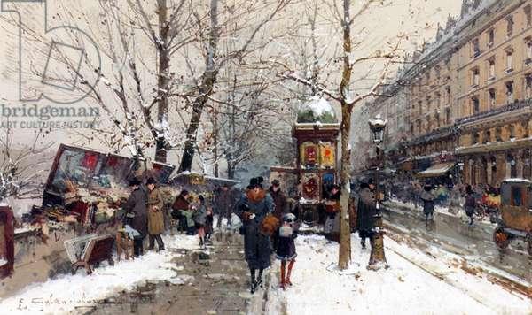 Bookstalls in Winter, Paris (gouache & w/c on paper)
