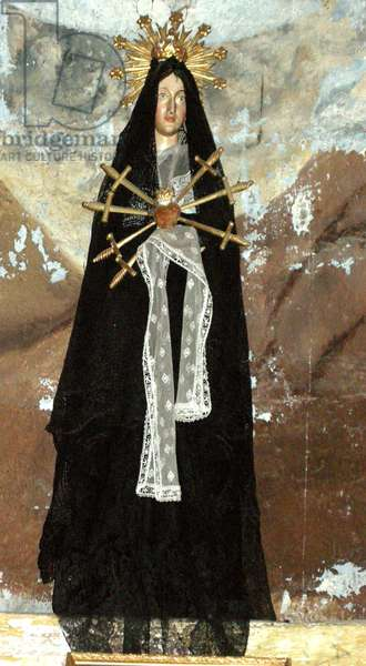 Virgin in mourning (wood & textile)