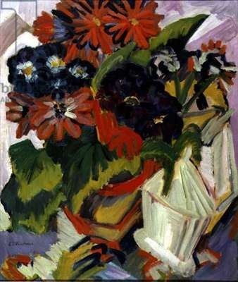 Bouquet of Flowers with a Sugar Bowl, 1918-19 (oil on canvas)
