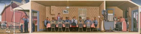 Dinner for the Threshers, 1934 (oil on hardboard)