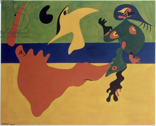 Sea and bird, 1934 (gouache on paper)