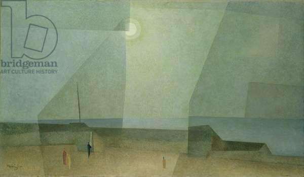 Beach at Night (oil on canvas)