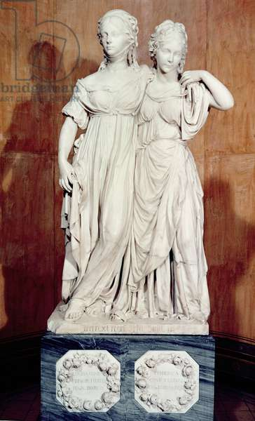 Double statue of the Princesses Louise (1776-1810) and Frederica (1778-1841) of Prussia, 1795 (marble)
