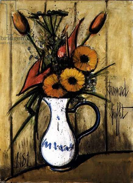 Bouquet in a Pitcher, 1981 (oil on canvas)