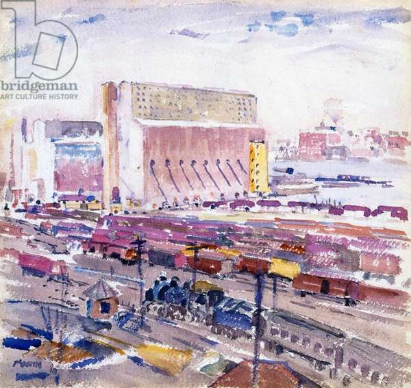 Warehouses and the North River, 1910 (w/c on paper)