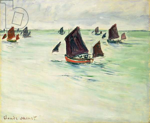 Fishing Boats at the large Pourville, 1882 (oil on canvas)