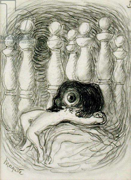 Woman and Skittles, 1936 (pencil on paper)