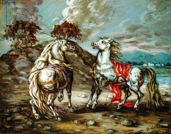 Two Horses, c.1950 (oil on canvas)