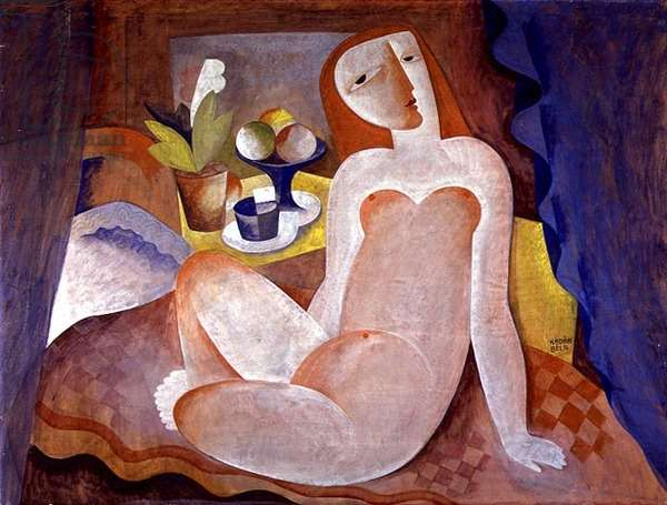 Reclining Nude (gouache on paper)