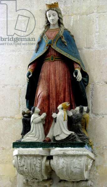 Virgin Protecting the Clergye (polychrome stone)