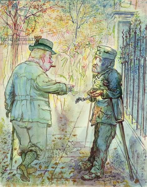 Begging War Hero, 1926 (w/c & ink on paper)