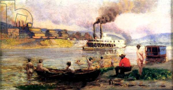 Steamboat on the Ohio, c.1900 (oil on canvas)