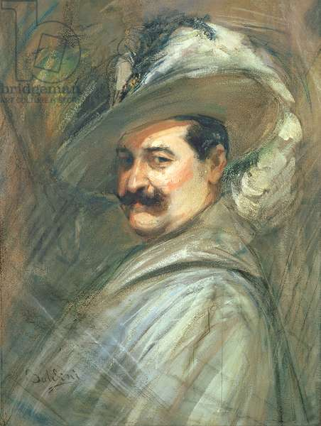 Costantino in the role of Ernani, c.1910 (gouache and pastel on paper)