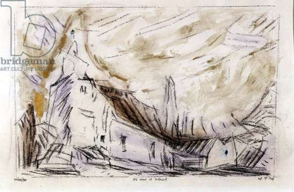 The Old Church of Drobsdorf, 1944 (w/c, pencil, pen and ink on paper)