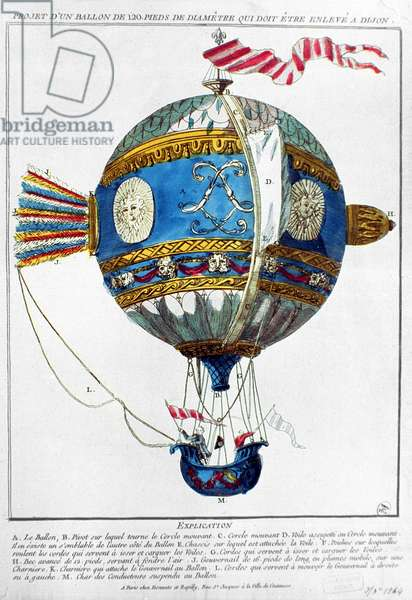 Design for a hot-air balloon with a diameter of 120 feet to take off at Dijon, c.1784 (colour engraving)