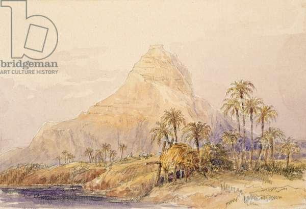 Extinct volcano between El Deir and Abu Simbel, Egypt (w/c on paper)