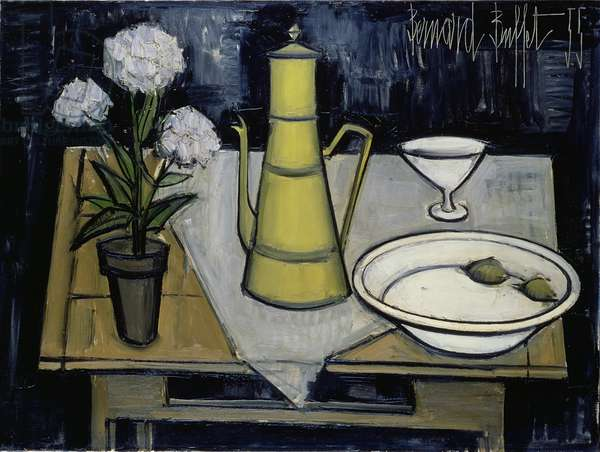 Still Life with Black Background, 1955 (oil on canvas)
