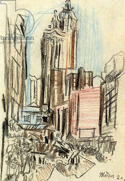 New York, a sketch, 1920 (coloured pencil on paper)