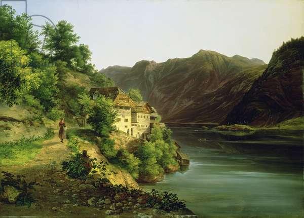 The Hallstatter Lake, 1824 (oil on canvas)