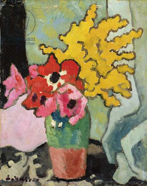 Anemones and Mimosa, 1943 (oil on board)