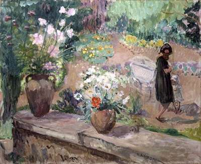 Woman in the Garden (oil on canvas)
