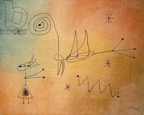 Woman, Bird and Stars, 1944 (ink & w/c on paper)