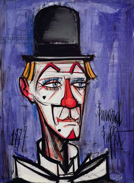 Clown with a Bowler Hat on a Blue Background (oil on canvas)