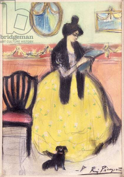 Reading, 1901 (pastel on paper)