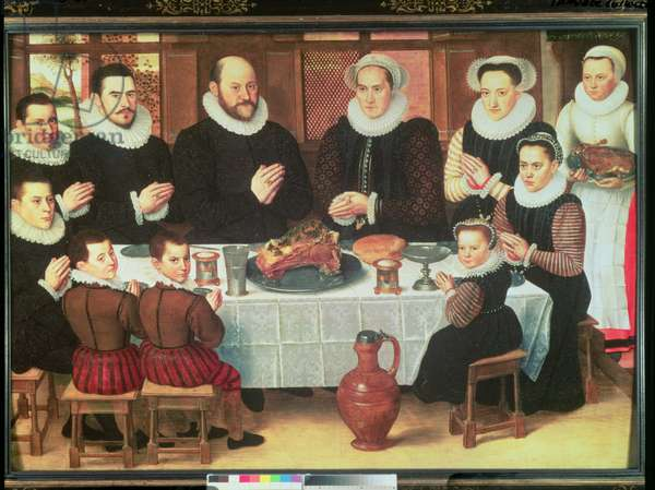 A Family Saying Grace Before the Meal, 1585 (oil on panel)