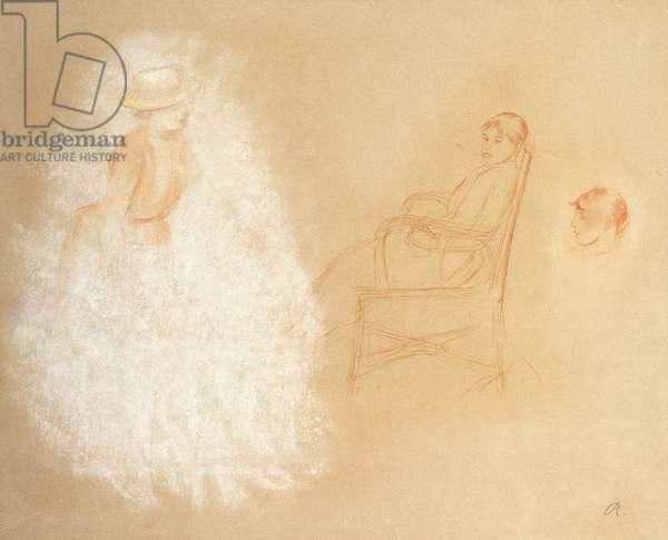Studies of Women (chalk on paper)