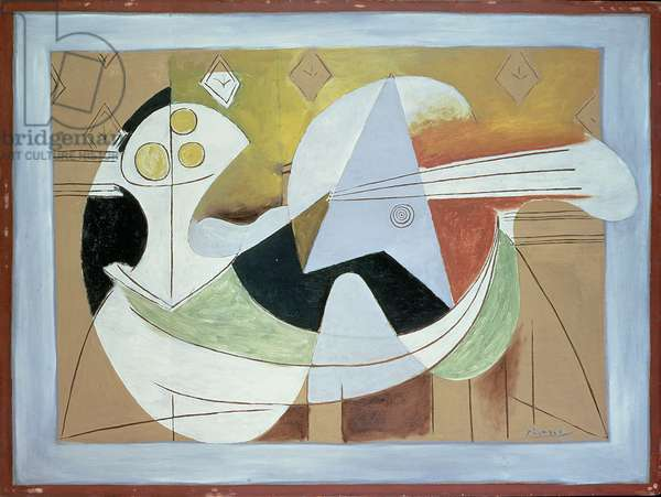 Fruit Bowl and Guitar, c.1927-29 (oil on panel)
