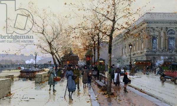 Near the Louvre, Paris (gouache & w/c on paper)