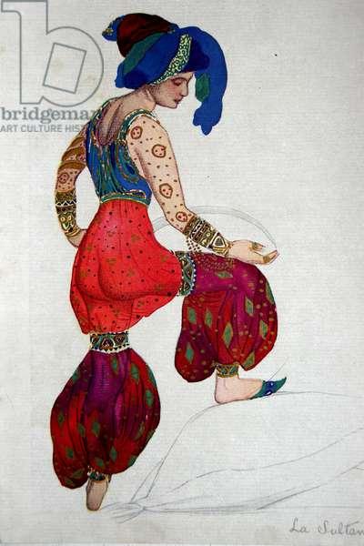 Costume design for the Blue Sultan in 'Scheherazade', c.1910 (w/c on paper)