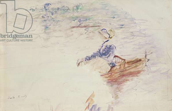 Sketch of a Young Woman in a Boat, 1886 (w/c on canvas)