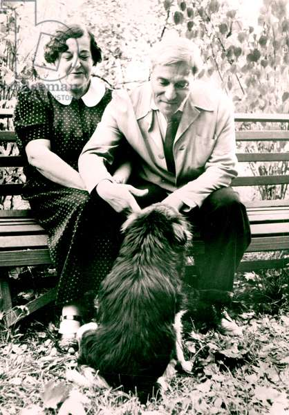 Boris Pasternak (1890-1960) and his wife Zinaida, 1958 (b/w photo)
