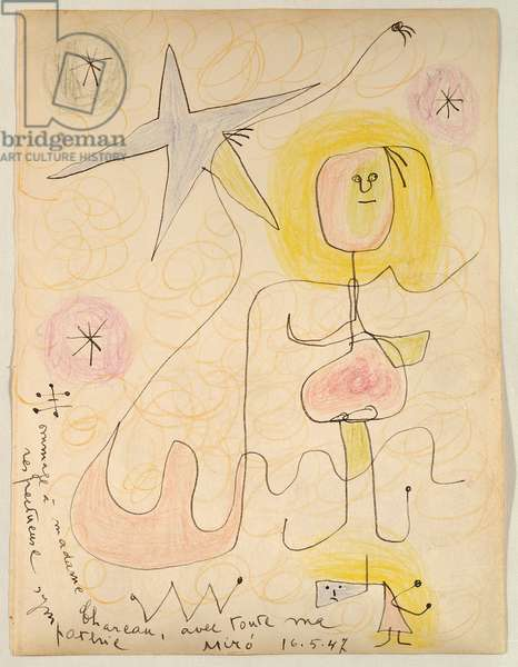 Homage to Madame Chareau, 1947 (wax crayon & ink on paper)